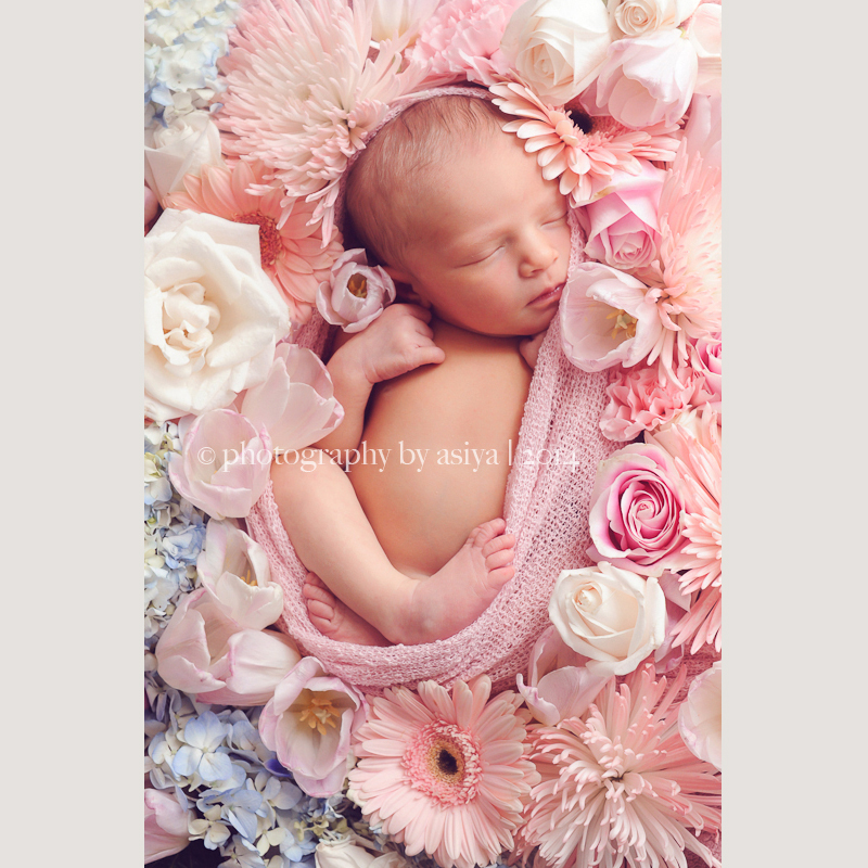 Newborn sleeping on flowers